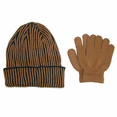 New CTM Kids' 4-7 Ribbed Hat and Gripper Gloves Set