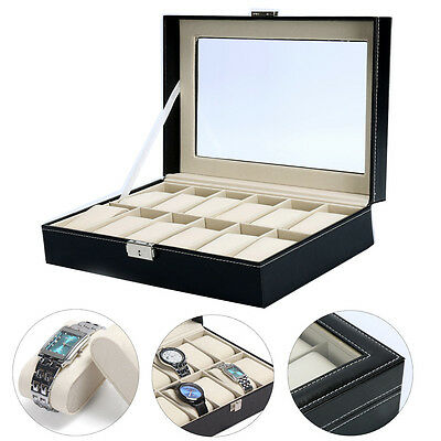 12 Slots Watch Box Black PU Leather Display Clear Top Jewelry Case Organizer