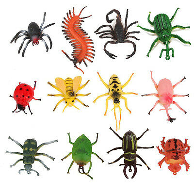 12pcs Tricky Toys Plastic Model Insect Centipede Bug Toys Party Fun Game Props