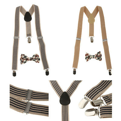 2Styles Toddler Kids Boys Adjustable Suspender Clip-on Braces + Bow Tie Sets
