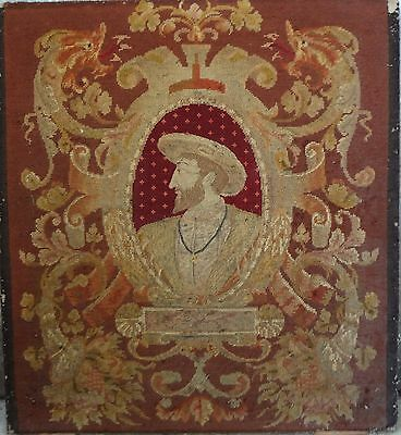 1800 ANTIQUE 3 ft by 2 ft FRENCH  AUBUSSON Tapestry Needlepoint King Henry IV