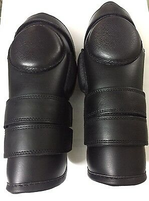 Polo Riding 3 Straps Real Leather Knee Guard- Black