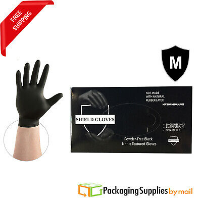 500 Pieces Gloves Black Nitrile Disposable Powder Free Medium glove Latex Free