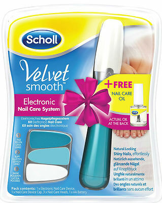 Scholl Velvet Smooth Electronic Nail Care System Gift Pack with Nail Care Oil