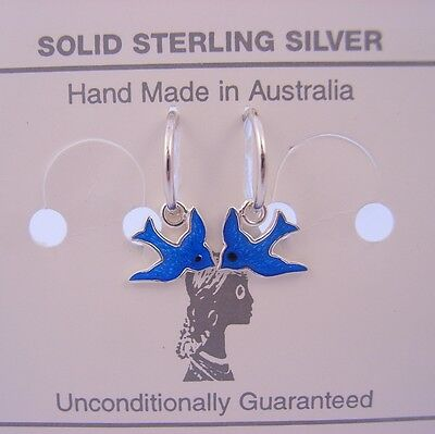STERLING SILVER BLUEBIRD CHARMS WITH 8mm SLEEPER EARRINGS