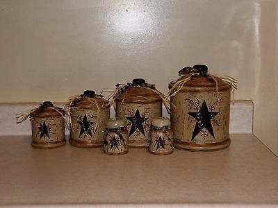 Primitive Crackle Star Canister set & Shakers - Rustic Country Farmhouse Decor