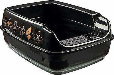 Trixie Modern Black & Bronze Cat Litter Tray With Rim 35 X 20 X 48 Cm 40392