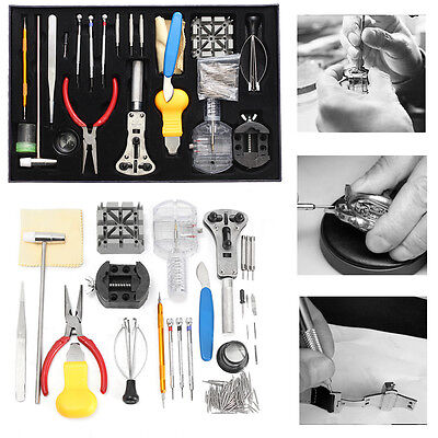 155Pcs Watch Repair Tool Kit Watchmaker Back Case Battery Cover Remover Opener