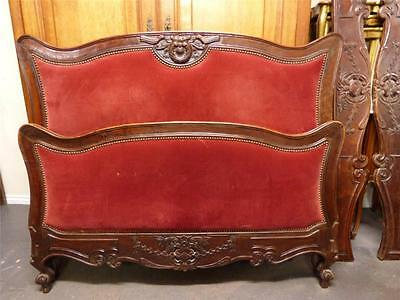 CLASSIC ANTIQUE FRENCH BED - GOOD CARVED EXAMPLE - ART NOVEAU - dv011