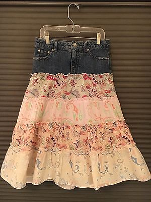 Limited Too Girl's Denim And Floral Ruffled Tiered Prairie Skirt Size 8
