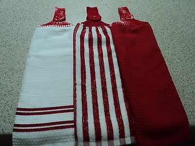 3  Hand Towels, Double sided, Crochet Tops,   (121)