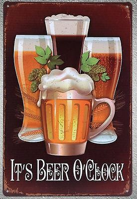 Targa it's beer o'clock stampa metallo vintage retrò pub bar poster arredo