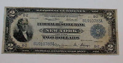 1914 Two Dollar $2 BATTLESHIP Thomas Jefferson New York NATIONAL CURRENCY Note