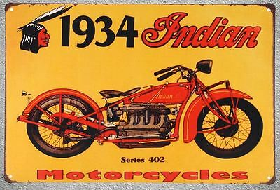 Targa 1934 indian stampa metallo vintage retrò pub bar poster arredo