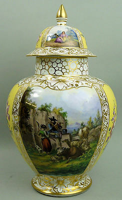 Antique Helena Wolfsohn Dresden Hand Painted Temple Vase & Cover C.1880