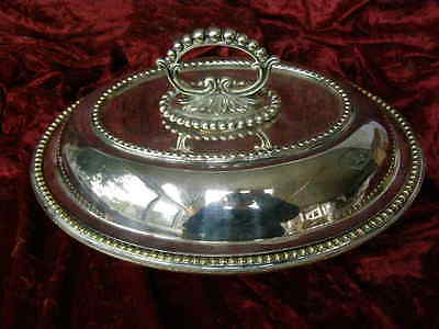 Large Antique Silver plate Entree Dish Chafing Dish serving Dish