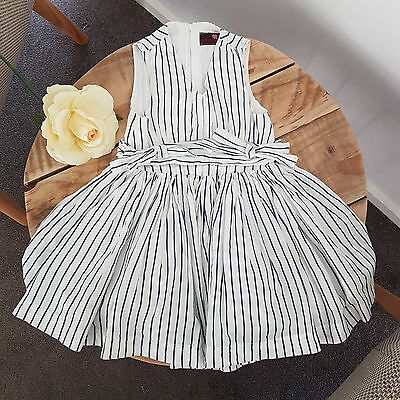 FRESH BAKED Designer White & Blue Stripe Baby Toddler Girl Party Dress Size 1