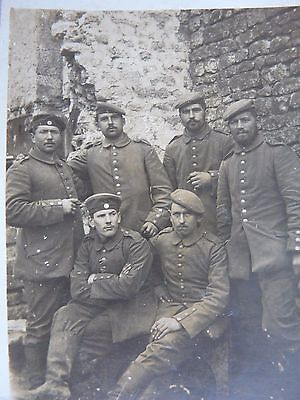 6 German Soldiers in a nice period Setting---Original WW1 Photograph