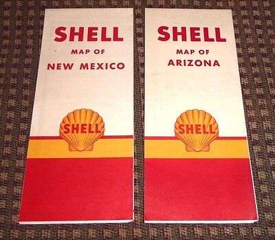 Vintage Shell Oil Gas Station Maps Arizona New Mexico Lot of 2 MINT