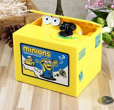Despicable Me Minions Piggy Bank Automatic Stole Coin Saving with Box Package