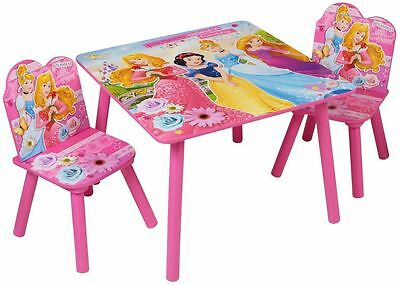 Disney Princess Childrens Wooden Table Two Chairs Wood Set Kids Bedroom Playroom