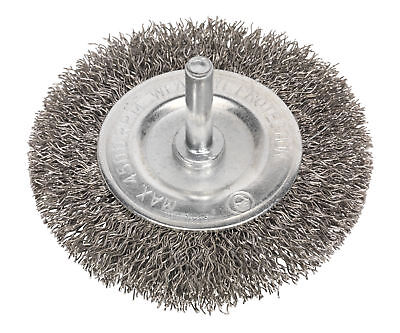 Sealey SFBS75 Flat Wire Brush Stainless Steel 75mm with 6mm Shaft