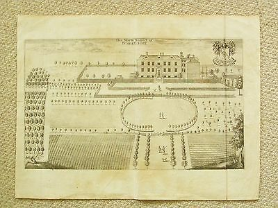 Pair of genuine antique engravings of Bushey Hall in Hertfordshire by Chauncey.