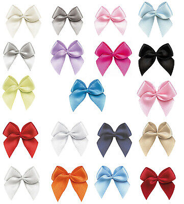 "100/200pcs 26mm 1"" Small Bows 9mm Satin Ribbon Eco Quality Craft Wedding Party"