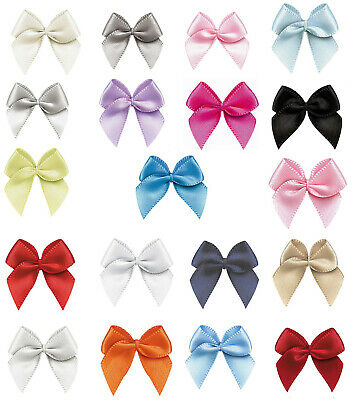 """20 50 100 26mm 1"""" Small Bows 9mm Satin Ribbon Eco Quality Craft Wedding Party"""