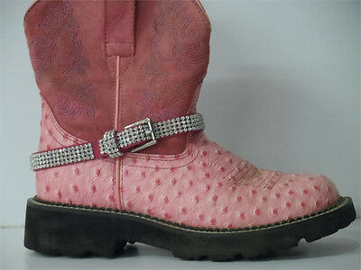 Pink All Rhinestone Bling Western Cowgirl Boot Strap Anklet Jewelry New Cute S4