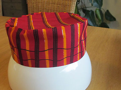African Style Kufi Unisex Hat Red Gold African Cotton Medium  62cms Round Lined