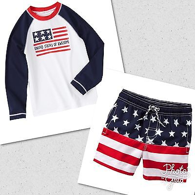 NWT Gymboree RED WHITE & CUTE Boys 5 6 7 8 Rash Guard & Swim Shorts Set