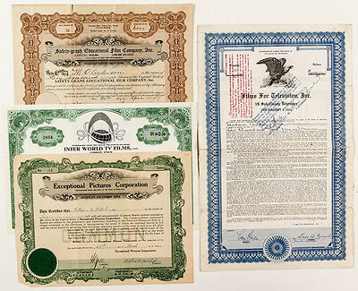 Television Related Stock Certificates ~ (4) (p#1184)