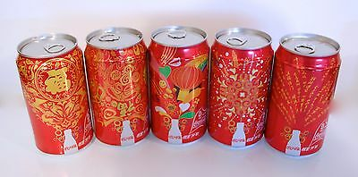 5 Cans Coca-Cola 'Side of Life' Celebration Beijing 2008 Olympics China 355ml. #