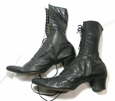 Victorian Women's Lace-up Black High Top Leather Boots Stack Heel Pointed Toe