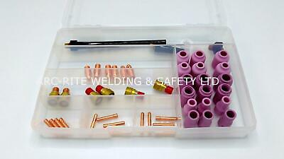 (TK22) WP9 WP26 TIG Welding Kit in Case - Collets, Bodies, Gas Lens, Back Caps