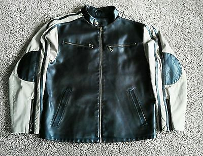 Men's Faux Leather Jacket Canvas Sleeves Biker Coat Brown and Tan Size LG