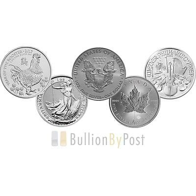 2017 1oz Silver Coin Set; Eagle, Maple, Brit, Phil, Rooster
