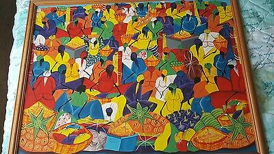 Original Painting Dominican Republic Large Abstract Art 100 x 85cm Signed by art