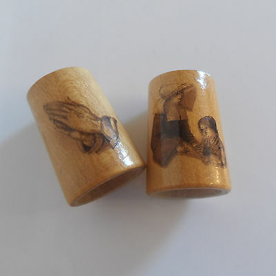 Two Vintage Wooden (Treen) Made Thmbles