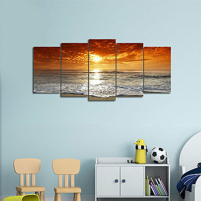 Framed Canvas Art Print Photo Wall Home Decor Poster Landscape Golden Sea Beach