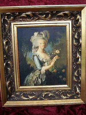 Large Faux Antique Gilt Framed Portrait Old Masters Painting Print  Lady Girl