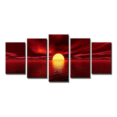 Abstract Painting Art Print on Canvas Red Sun Sea Landscape Home Decor Framed