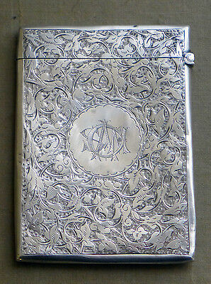 Victorian silver card case, Birmingham 1889 by Hilliard & Thomason