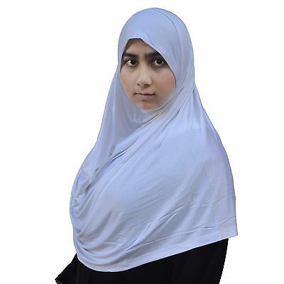 US Seller ~ Hayaa WHITE Ready-to-Wear Instant Jersey Hijab 2 Face Loop