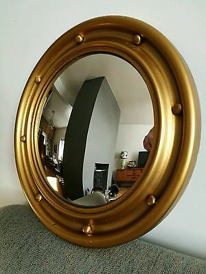 Large Round Vintage Gilt Gesso Ball Convex Wall Mirror