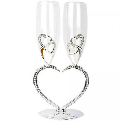 Bride And Groom Toasting Glasses Wedding Champagne Flutes Glassware Set Of 2 New