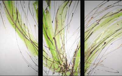 NEW 3 Piece Abstract Canvas Painting in White and Lime Green