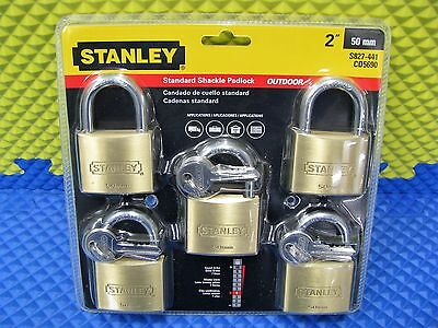 Stanley 2 Inch 50mm Outdoor Padlocks Multi-Pack Of 5 Keyed Alike S827-441