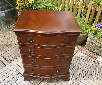 Small Mahogany Serpentine Fronted Chest Of Drawers/ Bedside Cabinet